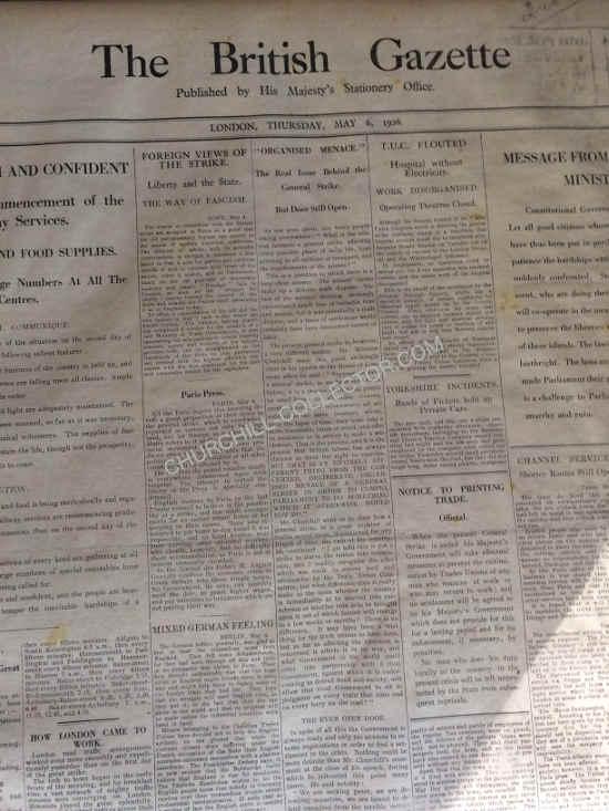Front page of British Gazette.