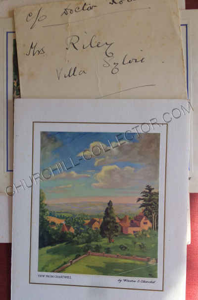 Christmas Card from Winston & Clementine Churchill together with Mrs Riley's (Dr Robert's mother) Address