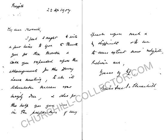 Letter from Winston Churchill to Philip Morrell. Hand-written letter with Churchill's Authentic Signature. 1907