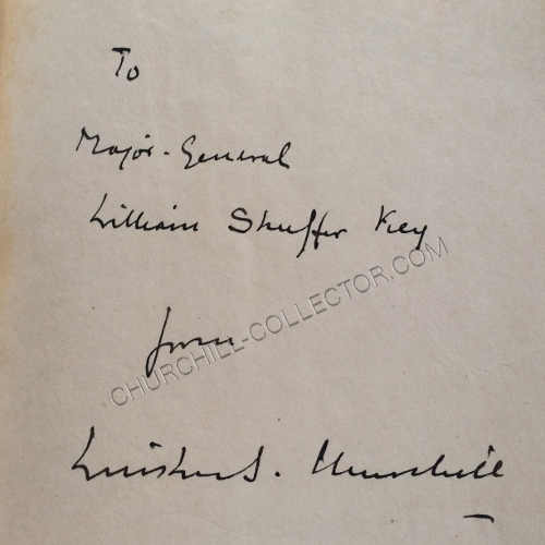Inscription reads To Major General, William Shaffer Key From Winston S, Churchill March 21 1943