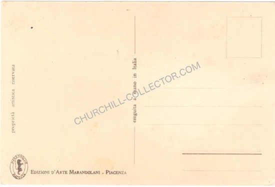 Back side of Rare vintage Italian postcard featuring Winston Churchill