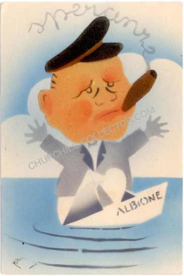 Rare vintage Italian postcard featuring Winston Churchill
