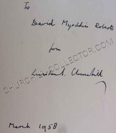 "Volume IV inscribed ""To David Myrddin Roberts from Winston S. Churchill, March 1958."""