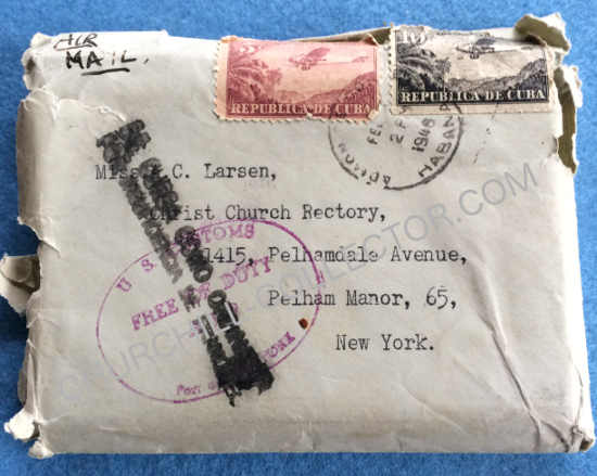 Envelope showing Larsen's address to which the New Testament with Churchill's signature, was sent as requested by Churchill.