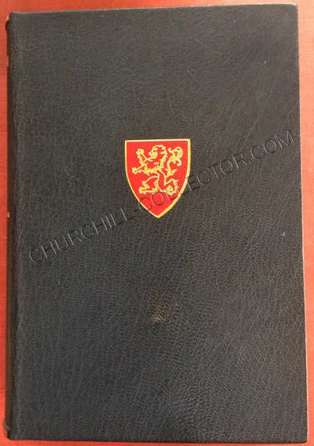 """Front cover of one of the 4 Vols in the set """"History Of The English-Speaking Peoples""""by Churchill showing rampant lion shield onlay to the front boards each."""
