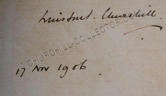 Winston Churchill's signature in vol 2 of this 2 vol set to David Thomson, dated 17 Nov 1906.