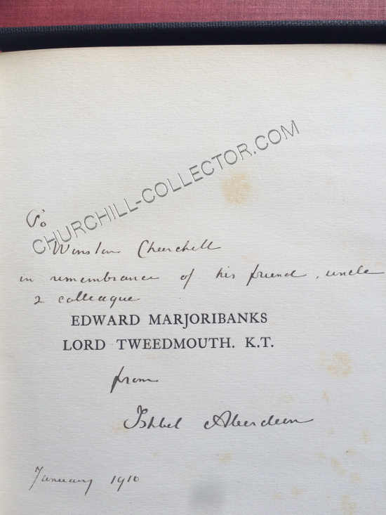 Inscription to Winston Churchill from the Editor, Ishbel Aberdeen dated 1910