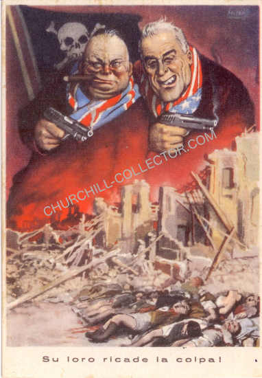 Colorful Italian postcard from WW2 portraying Churchillian Roosevelt as the bad guys