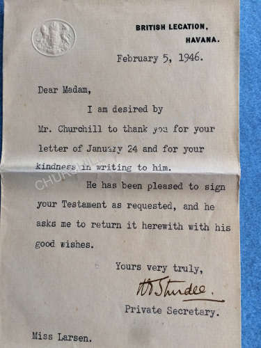 Letter to Miss Larsen 1946 at the request of Winston Churchill