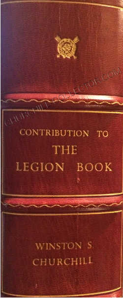 Spine of custom quarter red morocco book like clam-shell box with raised bands specially constructed to house and preserve The Legion Book. Letting in gilt