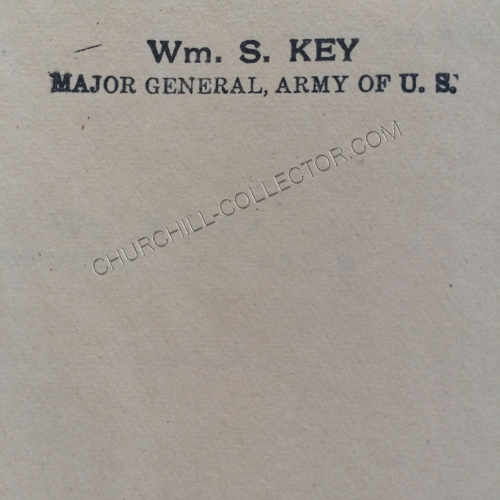 Key's name, stamped in ink on the second blank page and beneath the half title