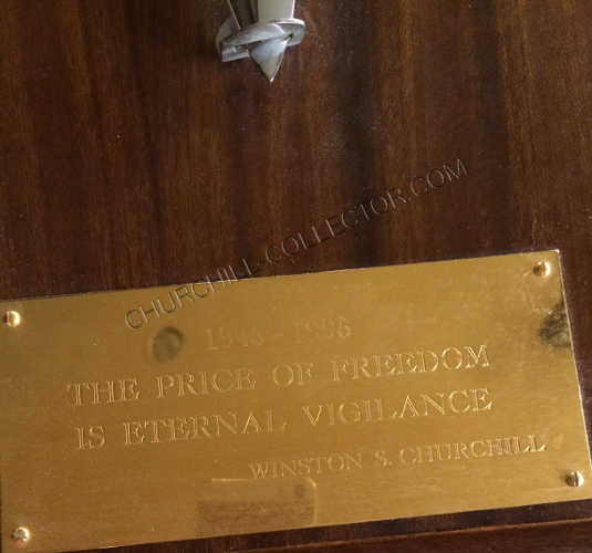 THE SWORD OF PEACE: VE Day 50th ANNIVERSARY with words from Winston Churchill on the brass plate at the bottom.