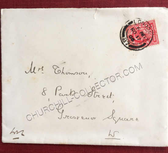 Envelope addressed to David Thomson, a New York attorney, the husband of Eva Purdy Thomson an American cousin of Winston Churchill