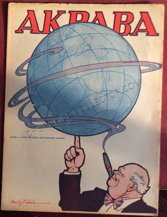 Akbaba Turkish Periodical featuring Winston Churchill on its front cover cover