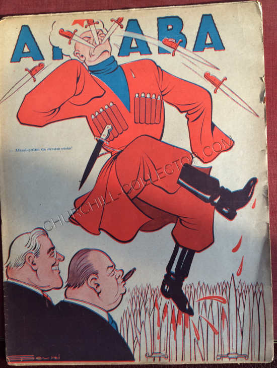 Akbaba Turkish Periodical featuring Winston Churchill on its cover with Roosevelt