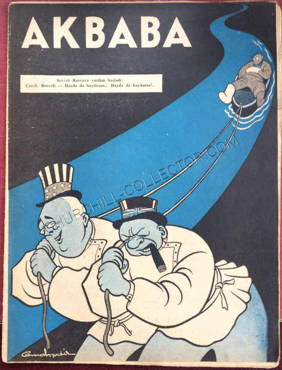 Front page of the Turkish Periodical Akbaba featuring caricatures of Winston Churchill & President Roosevelt