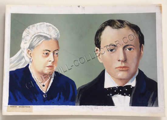 Original Artwork by Lebanese Artist, Samir Ghantous for a Stamp featuring Churchill & Queen Victoria