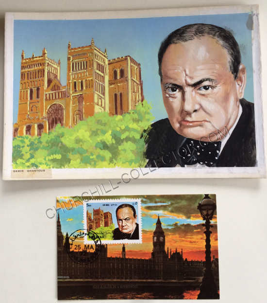 Stamp plus Original Artwork by Lebanese Artist, Samir Ghantous featuring Churchill & Westminster Abbey