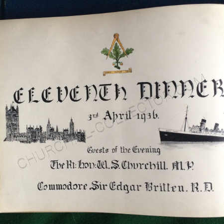 Hand drawn themed 'title' leaf from 1936 when Winston Churchill was the guest of honor at the Navigating Officer's Dinner