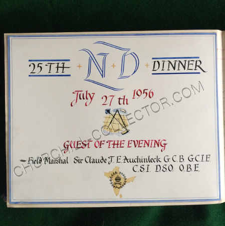 Hand drawn themed 'title' leaf from 1956 whenField Marshal Sir Clause J. E. Auchinleck was the guest of honor at the Navigating Officer's Dinner