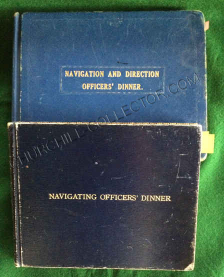 Two blue leather bound Visitor's Books recording attendees at the Annual Navigating Officer's Dinner
