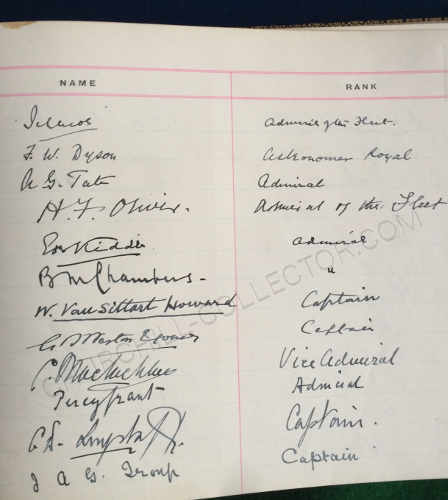 Another page of authentic signatures in Royal Navy Navigation School, Navigating Officer's Dinner Visitors Book