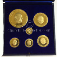 CHURCHILL 90th (NINETIETH) BIRTHDAY 6 GOLD COMMEMORATIVE MEDAL SET, 1964