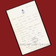 WINSTON CHURCHILL SIGNATURE, HAND-WRITTEN LETTER – 1912