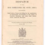 Southern Rhodesia – Despatch to the High Commissioner for South Africa