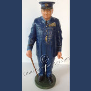 CARVED WOOD CARICATURE: CHURCHILL IN ROYAL AIR FORCE UNIFORM – CHURCHILLIANA