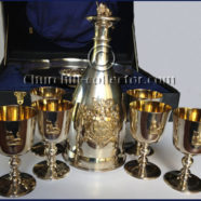 Silver Decanter, Tray, 6 Goblets: CHURCHILL CENTENARY by Mappin & Web, 1974