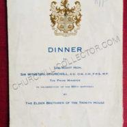 Churchill's Signature on Dinner Menu: 1954